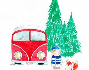Happy Campers - Giclée Watercolor Print for Children's Bedroom Decor