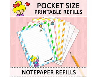 PRINTABLE Pocket Size Cute Kawaii Kokeshi DIY Notepaper Refills for Filofax Organizer Planner Instant Download