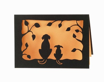 Two Dogs laser cut card