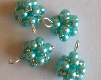 4 4mm turquoise glass pearl beads pendants