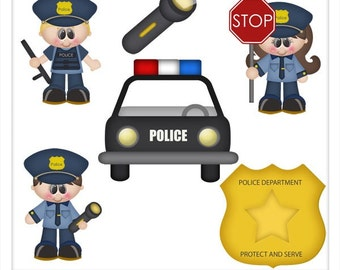 DIGITAL SCRAPBOOKING CLIPART - When I Grow Up Police