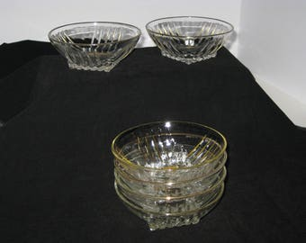 Vintage Federal Glass Co. Park Ave fruit/dessert bowls-set of 6. 22K gold trim, Mid Century