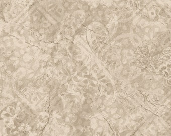 Vintage Tiles - Soft Tan by Maywood Studio MAS105-TE Cotton Fabric Yardage