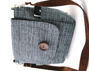 blue crossbody bag, steel blue purse, womens backpack, blue messenger bag ,blue backpack, blue handbag, zipper bag, fits IPAD