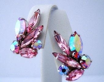 Sherman Vintage Signed Pink & Pink Aurora Borealis Rhinestone Earrings 1960s Era COLLECTIBLE JEWELRY
