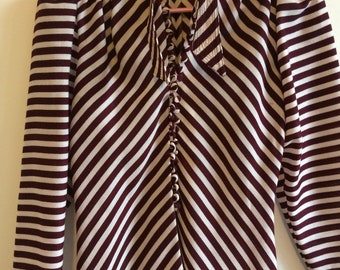 Burgundy and cream stripe blouse size small