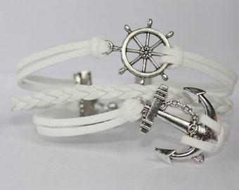 INGENIOUS~ Handmade Nautical Bracelet White Leather Multilayer Ship Wheel Anchor Charm ilovecheesygrits