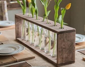 Glass Bottle & Wood Vase