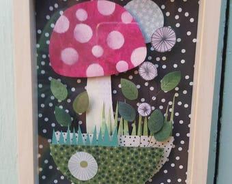 Showcase diorama made of cut paper pattern of polka dot red amanita mushroom