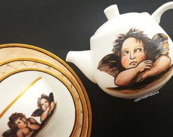 Handpainted Porcelain Tableware Raffaello Sanzio Angels Painting Renaissance Personalized Gift For Her Unique Tableware Gift for mother