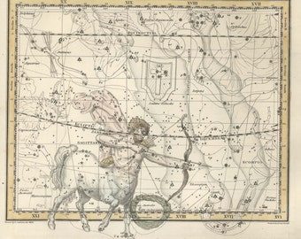 Antique print, Moon, Constellation, Constellations of the of the Sagittarius, Corona Australis, 74