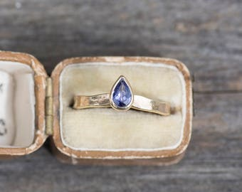 Tanzanite Teardrop Ring | Gold Tanzanite Ring | Unusual Engagement Ring | December Birthstone Ring | Pear Shaped | Storybook Alice Ring