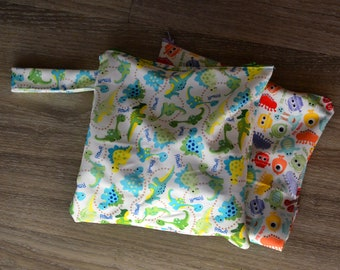 Zippered Wet Bag with Handle for Cloth Diapers in Dinosaur, Monster or Aqua