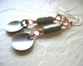 Turquoise Earrings, Turquoise Copper Silver Earrings, Dangle Drop Earrings, Turquoise Jewelry, Metalwork Earrings, Mixed Metal Earrings