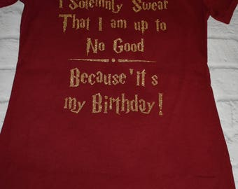 Harry potter inspired shirt,  crimson and gold (glitter or not), I solemnly swear that I am up to no good because it's my birthday