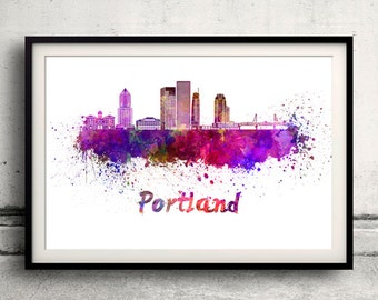 Portland skyline Poster INSTANT DOWNLOAD 8x10 inches Poster Wall art Illustration Print Art Decorative - SKU 1954