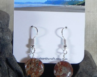 Red breccia jasper earrings geology geologist sedimentary rock semiprecious stone jewelry packaged  in a colorful gift bag 3146 B