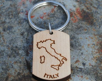 Italy Wooden Map KEYCHAIN