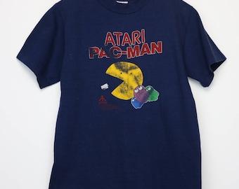 Pac Man Shirt Vintage tshirt 1982 Atari Ghosts Blinky Pinky Inky Clyde 1980s Video Game Memorabilia Toru Iwatani Arcade