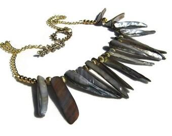 Spiky Shell Talon Necklace Black Talon