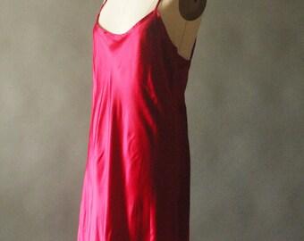 Vintage 90's Burgundy Satin and Cream Lace Spaghetti Slip Strap Dress by Jaisel, size L
