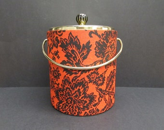 Vintage West Bend Insulated Red & Black Floral Ice Bucket with Lid (E9843)