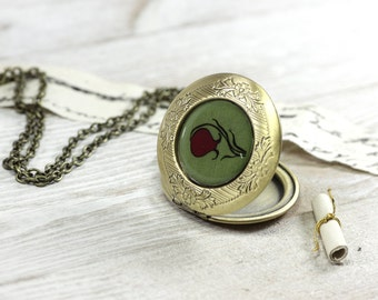 Green Necklace - Jewelry - Locket Pendant - Lockets for Women - Red Tulip Locket - Vintage Lockets - Art jewelry by Cut the Fish (11-1L)