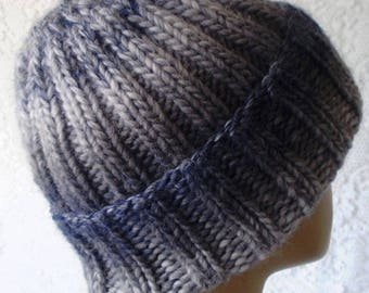 Blue gray wool watch cap, mens womens knit hat, toque, slouchy hat, wool hat, winter hat, brimmed beanie hat, striped hat, blue gray hat, V2