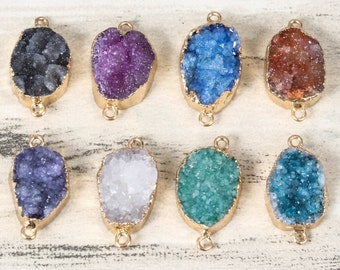 3 Mixed COLOR Gemstone Pendant Raw Stone Connector Beads Natural Druzy Pendant Gold Plated Gemstone Necklace Beads For Jewelry Accessories