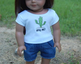 SALE-American Girl Doll inspired clothing/18- inch doll clothes/2-piece outfit/denim shorts/doll tee/doll shirt/doll outifit/Hug Me Cactus