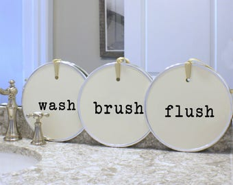 Wash Brush Flush - Flush Sign - Bathroom Sign - Bathroom Art - Wash Sign Kids Bathroom - Cottage Bathroom - Bathroom Rules - Cottage Decor