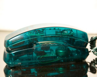 Retro Translucent Green Telephone - Skeleton Phone - Very 1980's - Conair Brand