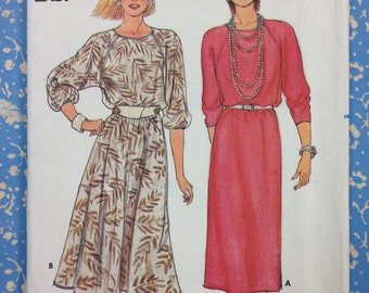 Butterick 3061 - 1980s  Fast and Easy Raglan Sleeve Dress, Straight or Blouson Bodice with Flared Skirt in Midi Length - Size 12 14 16
