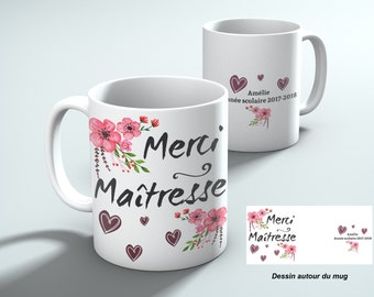 Thank you teacher mug with hearts, personalized name