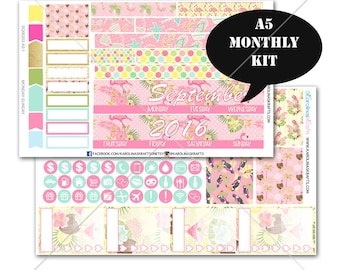 A5 Planner Stickers, Tropical Summer Flamingo MONTHLY Planner Kit, Sew Much Crafting Stickers, Monthly Sticker Kit #SQ00203-A5