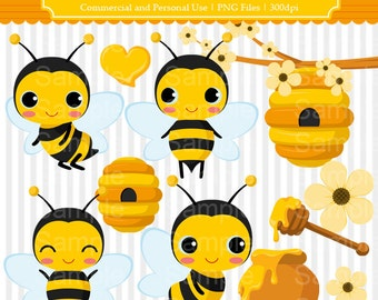 Bee Clipart Set - For Commercial and Personal Use Cliparts