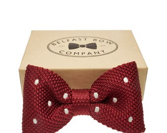 Handmade Knitted Bow Tie in Burgundy Red Spotted