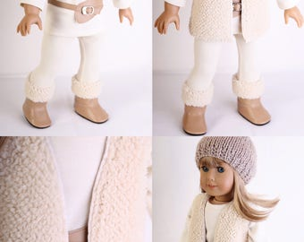 Handmade to fit like American Girl Doll Clothes, 18 Inch Doll Clothes, WINTER CHIC, Cream Ensemble with Shearling Vest and UGG-like boots