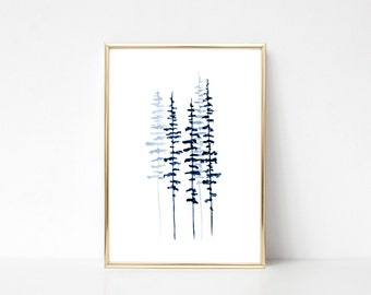 Pine Tree Print Evergreen Trees Watercolor Painting Misty Forest Minimalst Print Scandinavian Print Scandinavian Art Scandinavian Poster