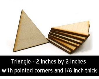 Unfinished Wood Triangle with pointed corners - 2 inches wide by 2 inches tall and 1/8 inch thick wooden shape (TRIA26)