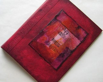 Handmade Journal Refillable Distressed Red Violet Rice Paper Collage 8x6 Original