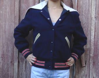 navy blue letterman jacket // vintage letterman // split-hood letterman