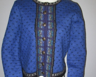 Vtg Tally Ho Sweater 100% Wool SZ P S Blue Floral Black Trim Metal Buttons Nordic