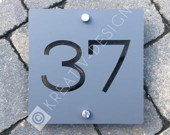 Modern House Number Door Sign 175mm x 175mm x 5mm Original and Unique plaque Bespoke Laser Cut Design