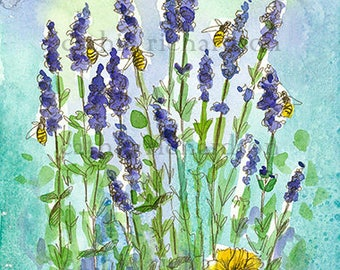 Honey Bees Lavender Watercolor Painting Original Art