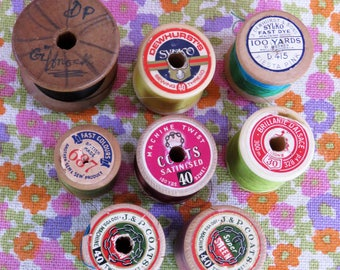 8 x Vintage 50s / 60s sewing thread Sylko Coats DMC
