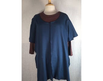 Toss On Organic Midlayer Overpiece OSFA Plus Mariner Blue  Ready to Ship by Blue Fish Red Moon Clothing