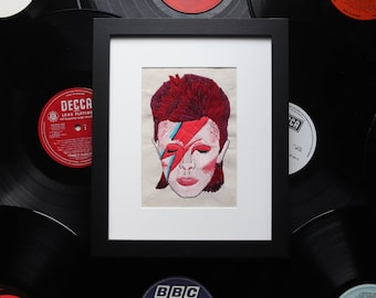 Embroidered David Bowie Aladdin Sane Portrait