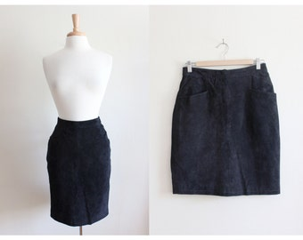 Vintage Black Suede High Waist Mini Skirt
