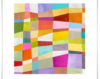 Abstract Blocks, Modern Art Print, Geometric Design, Contemporary Home Decor, Modern Nursery Decor, Framing Available
